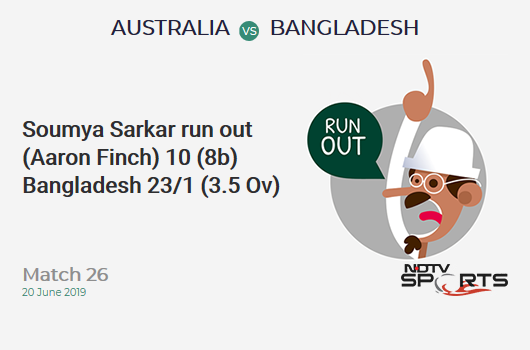 AUS vs BAN: Match 26: WICKET! Soumya Sarkar run out (Aaron Finch) 10 (8b, 2x4, 0x6). बांग्लादेश 23/1 (3.5 Ov). Target: 382; RRR: 7.78