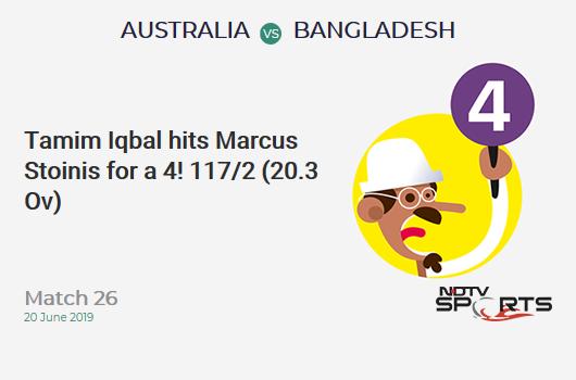 AUS vs BAN: Match 26: Tamim Iqbal hits Marcus Stoinis for a 4! Bangladesh 117/2 (20.3 Ov). Target: 382; RRR: 8.98