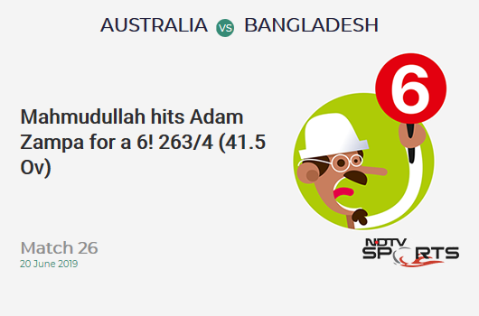 AUS vs BAN: Match 26: It's a SIX! Mahmudullah hits Adam Zampa. Bangladesh 263/4 (41.5 Ov). Target: 382; RRR: 14.57