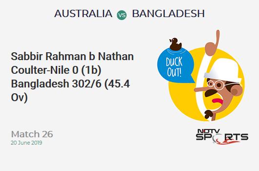 AUS vs BAN: Match 26: WICKET! Sabbir Rahman b Nathan Coulter-Nile 0 (1b, 0x4, 0x6). बांग्लादेश 302/6 (45.4 Ov). Target: 382; RRR: 18.46