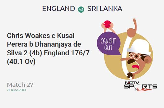 ENG vs SL: Match 27: WICKET! Chris Woakes c Kusal Perera b Dhananjaya de Silva 2 (4b, 0x4, 0x6). इंग्लैंड 176/7 (40.1 Ov). Target: 233; RRR: 5.80