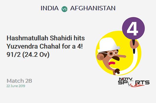 IND vs AFG: Match 28: Hashmatullah Shahidi hits Yuzvendra Chahal for a 4! Afghanistan 91/2 (24.2 Ov). Target: 225; RRR: 5.22