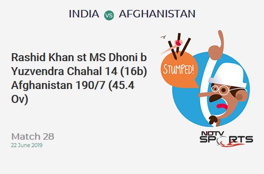 IND vs AFG: Match 28: WICKET! Rashid Khan st MS Dhoni b Yuzvendra Chahal 14 (16b, 1x4, 0x6). अफ़ग़ानिस्तान 190/7 (45.4 Ov). Target: 225; RRR: 8.08
