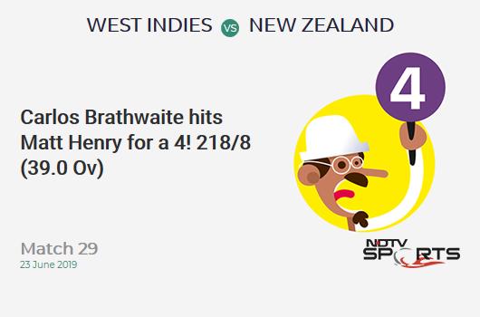 WI vs NZ: Match 29: Carlos Brathwaite hits Matt Henry for a 4! West Indies 218/8 (39.0 Ov). Target: 292; RRR: 6.73
