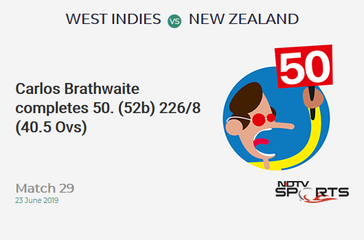 WI vs NZ: Match 29: FIFTY! Carlos Brathwaite completes 50 (52b, 6x4, 1x6). वेस्ट इंडीज 226/8 (40.5 Ovs). Target: 292; RRR: 7.2