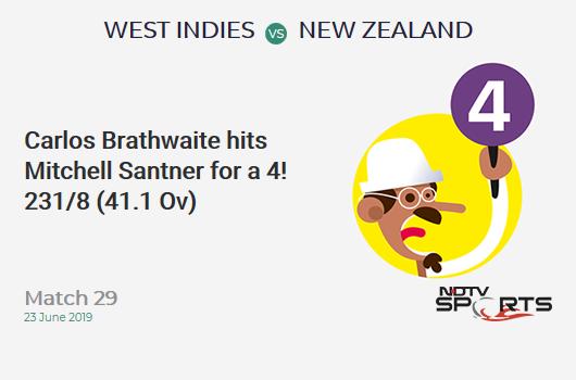 WI vs NZ: Match 29: Carlos Brathwaite hits Mitchell Santner for a 4! West Indies 231/8 (41.1 Ov). Target: 292; RRR: 6.91