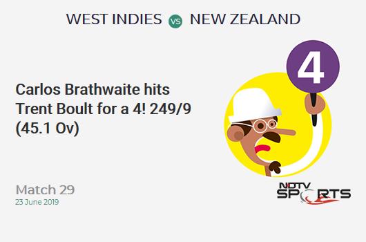 WI vs NZ: Match 29: Carlos Brathwaite hits Trent Boult for a 4! West Indies 249/9 (45.1 Ov). Target: 292; RRR: 8.90