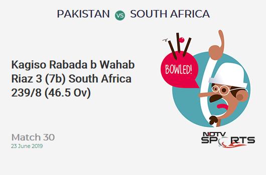 PAK vs SA: Match 30: WICKET! Kagiso Rabada b Wahab Riaz 3 (7b, 0x4, 0x6). दक्षिण अफ्रीका 239/8 (46.5 Ov). Target: 309; RRR: 22.11