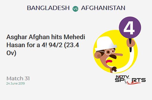 BAN vs AFG: Match 31: Asghar Afghan hits Mehedi Hasan for a 4! Afghanistan 94/2 (23.4 Ov). Target: 263; RRR: 6.42