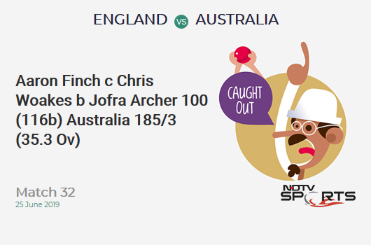 ENG vs AUS: Match 32: WICKET! Aaron Finch c Chris Woakes b Jofra Archer 100 (116b, 11x4, 2x6). ऑस्ट्रेलिया 185/3 (35.3 Ov). CRR: 5.21