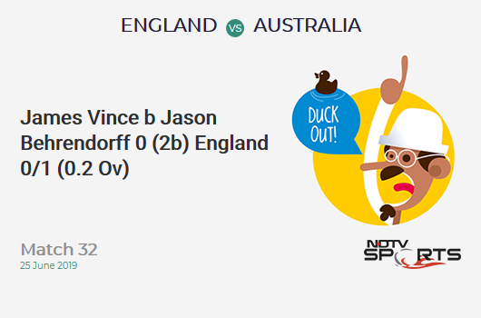 ENG vs AUS: Match 32: WICKET! James Vince b Jason Behrendorff 0 (2b, 0x4, 0x6). इंग्लैंड 0/1 (0.2 Ov). Target: 286; RRR: 5.76