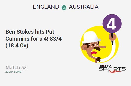 ENG vs AUS: Match 32: Ben Stokes hits Pat Cummins for a 4! England 83/4 (18.4 Ov). Target: 286; RRR: 6.48