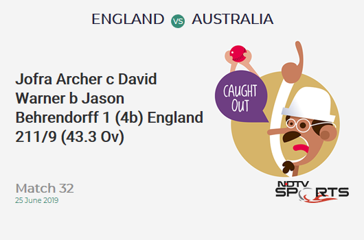 ENG vs AUS: Match 32: WICKET! Jofra Archer c David Warner b Jason Behrendorff 1 (4b, 0x4, 0x6). इंग्लैंड 211/9 (43.3 Ov). Target: 286; RRR: 11.54
