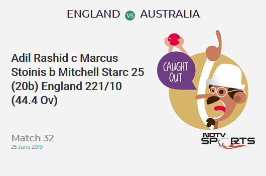 ENG vs AUS: Match 32: WICKET! Adil Rashid c Marcus Stoinis b Mitchell Starc 25 (20b, 3x4, 1x6). England 221/10 (44.4 Ov). Target: 286; RRR: 12.19