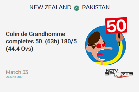 NZ vs PAK: Match 33: FIFTY! Colin de Grandhomme completes 50 (63b, 4x4, 1x6). न्यूजीलैंड 180/5 (44.4 Ovs). CRR: 4.02