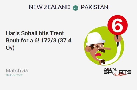 NZ vs PAK: Match 33: It's a SIX! Haris Sohail hits Trent Boult. Pakistan 172/3 (37.4 Ov). Target: 238; RRR: 5.35