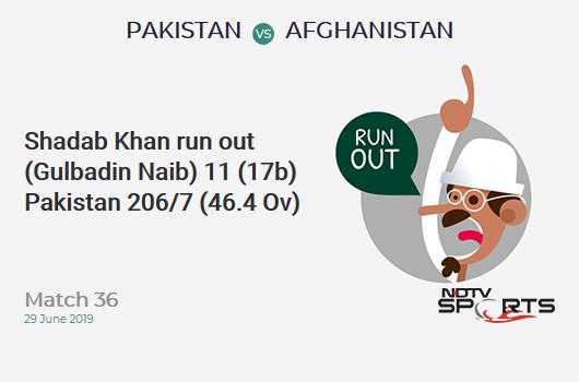 PAK vs AFG: Match 36: WICKET! Shadab Khan run out (Gulbadin Naib) 11 (17b, 1x4, 0x6). पाकिस्तान 206/7 (46.4 Ov). Target: 228; RRR: 6.6