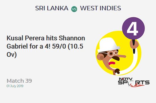 SL vs WI: Match 39: Kusal Perera hits Shannon Gabriel for a 4! Sri Lanka 59/0 (10.5 Ov). CRR: 5.44