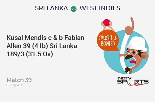 SL vs WI: Match 39: WICKET! Kusal Mendis c & b Fabian Allen 39 (41b, 4x4, 0x6). श्रीलंका 189/3 (31.5 Ov). CRR: 5.93