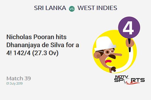 SL vs WI: Match 39: Nicholas Pooran hits Dhananjaya de Silva for a 4! West Indies 142/4 (27.3 Ov). Target: 339; RRR: 8.76