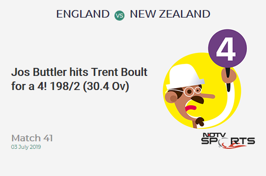 ENG vs NZ: Match 41: Jos Buttler hits Trent Boult for a 4! England 198/2 (30.4 Ov). CRR: 6.45