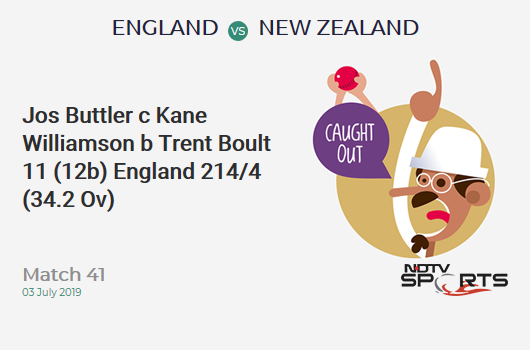 ENG vs NZ: Match 41: WICKET! Jos Buttler c Kane Williamson b Trent Boult 11 (12b, 1x4, 0x6). इंग्लैंड 214/4 (34.2 Ov). CRR: 6.23