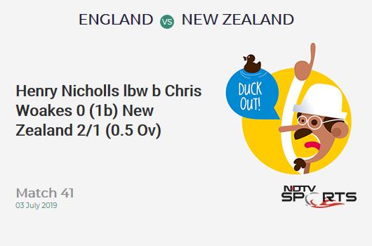 ENG vs NZ: Match 41: WICKET! Henry Nicholls lbw b Chris Woakes 0 (1b, 0x4, 0x6). न्यूजीलैंड 2/1 (0.5 Ov). Target: 306; RRR: 6.18