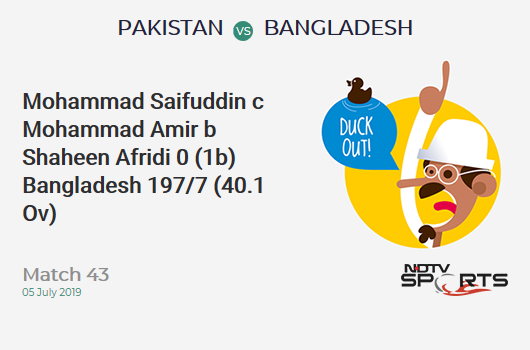PAK vs BAN: Match 43: WICKET! Mohammad Saifuddin c Mohammad Amir b Shaheen Afridi 0 (1b, 0x4, 0x6). बांग्लादेश 197/7 (40.1 Ov). Target: 316; RRR: 12.10