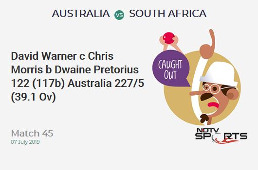 AUS vs SA: Match 45: WICKET! David Warner c Chris Morris b Dwaine Pretorius 122 (117b, 15x4, 2x6). ऑस्ट्रेलिया 227/5 (39.1 Ov). Target: 326; RRR: 9.14