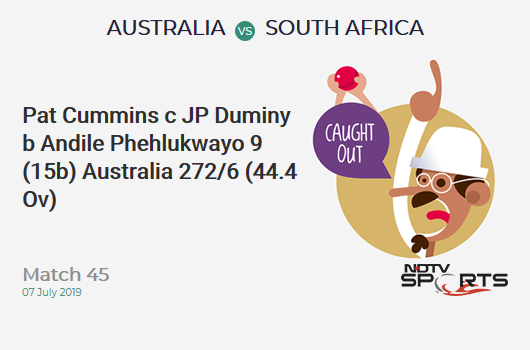 AUS vs SA: Match 45: WICKET! Pat Cummins c JP Duminy b Andile Phehlukwayo 9 (15b, 1x4, 0x6). ऑस्ट्रेलिया 272/6 (44.4 Ov). Target: 326; RRR: 10.12