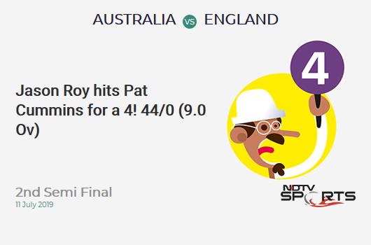 AUS vs ENG: 2nd Semi Final: Jason Roy hits Pat Cummins for a 4! England 44/0 (9.0 Ov). Target: 224; RRR: 4.39
