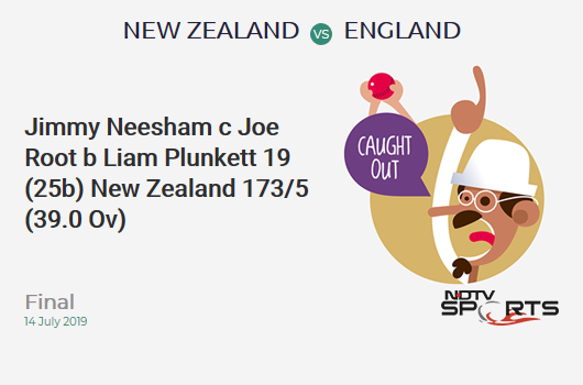 NZ vs ENG: Final: WICKET! Jimmy Neesham c Joe Root b Liam Plunkett 19 (25b, 3x4, 0x6). न्यूजीलैंड 173/5 (39.0 Ov). CRR: 4.43