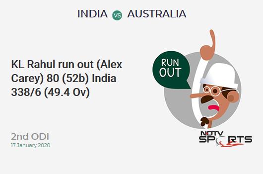 IND vs AUS: 2nd ODI: WICKET! KL Rahul run out (Alex Carey) 80 (52b, 6x4, 3x6). India 338/6 (49.4 Ov). CRR: 6.80