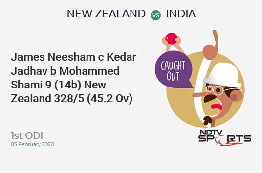 NZ vs IND: 1st ODI: WICKET! James Neesham c Kedar Jadhav b Mohammed Shami 9 (14b, 1x4, 0x6). न्यूज़ीलैंड 328/5 (45.2 Ov). Target: 348; RRR: 4.29