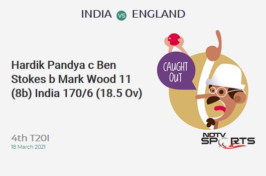 IND vs ENG: 4th T20I: WICKET! Hardik Pandya c Ben Stokes b Mark Wood 11 (8b, 0x4, 1x6). IND 170/6 (18.5 Ov). CRR: 9.03
