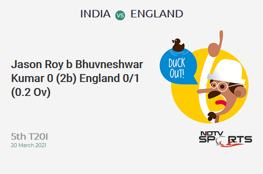 IND vs ENG: 5th T20I: WICKET! Jason Roy b Bhuvneshwar Kumar 0 (2b, 0x4, 0x6). ENG 0/1 (0.2 Ov). Target: 225; RRR: 11.44