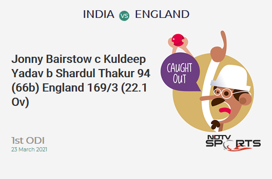 IND vs ENG: 1st ODI: WICKET! Jonny Bairstow c Kuldeep Yadav b Shardul Thakur 94 (66b, 6x4, 7x6). ENG 169/3 (22.1 Ov). Target: 318; RRR: 5.35