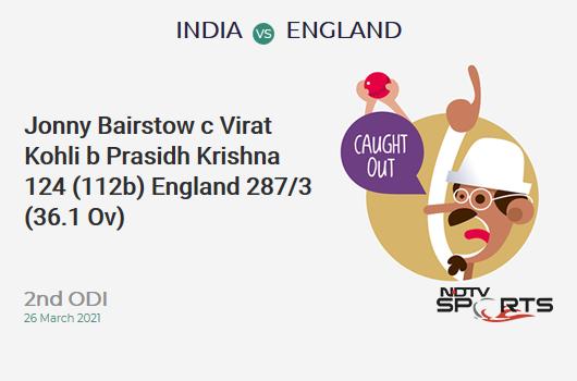 IND vs ENG: 2nd ODI: WICKET! Jonny Bairstow c Virat Kohli b Prasidh Krishna 124 (112b, 11x4, 7x6). ENG 287/3 (36.1 Ov). Target: 337; RRR: 3.61