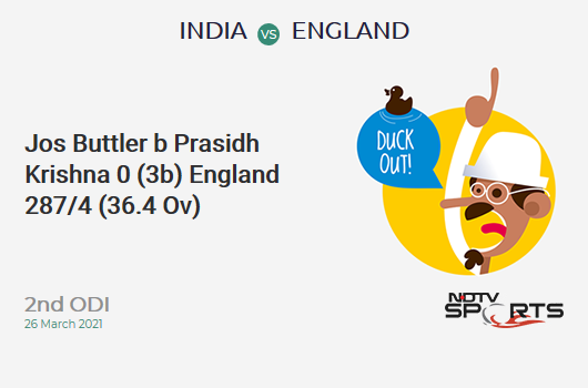 IND vs ENG: 2nd ODI: WICKET! Jos Buttler b Prasidh Krishna 0 (3b, 0x4, 0x6). ENG 287/4 (36.4 Ov). Target: 337; RRR: 3.75