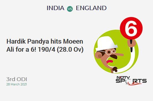 IND vs ENG: 3rd ODI: It's a SIX! Hardik Pandya hits Moeen Ali. IND 190/4 (28.0 Ov). CRR: 6.79