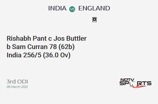 IND vs ENG: 3rd ODI: WICKET! Rishabh Pant c Jos Buttler b Sam Curran 78 (62b, 5x4, 4x6). IND 256/5 (36.0 Ov). CRR: 7.11