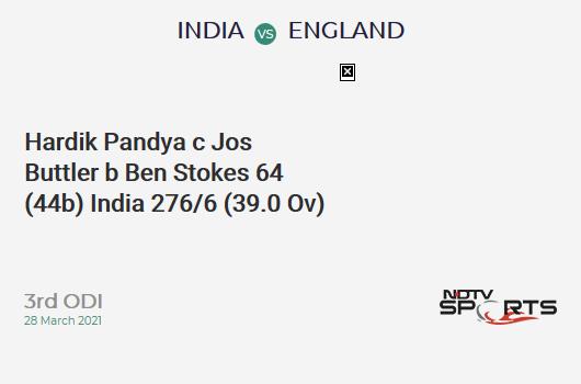 IND vs ENG: 3rd ODI: WICKET! Hardik Pandya c Jos Buttler b Ben Stokes 64 (44b, 5x4, 4x6). IND 276/6 (39.0 Ov). CRR: 7.08