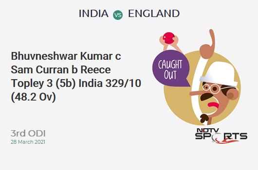 IND vs ENG: 3rd ODI: WICKET! Bhuvneshwar Kumar c Sam Curran b Reece Topley 3 (5b, 0x4, 0x6). IND 329/10 (48.2 Ov). CRR: 6.81
