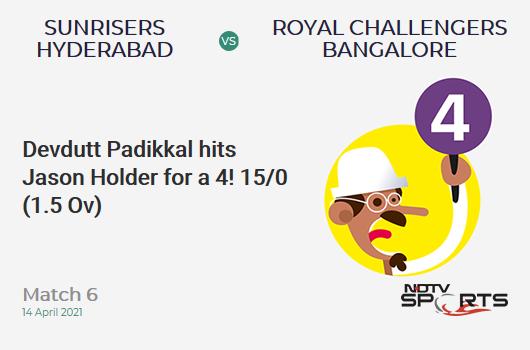 SRH vs RCB: Match 6: Devdutt Padikkal hits Jason Holder for a 4! RCB 15/0 (1.5 Ov). CRR: 8.18
