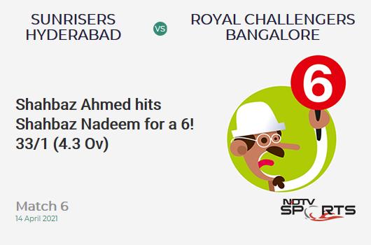 SRH vs RCB: Match 6: It's a SIX! Shahbaz Ahmed hits Shahbaz Nadeem. RCB 33/1 (4.3 Ov). CRR: 7.33