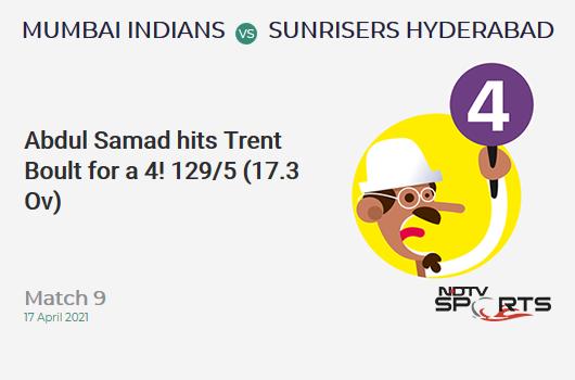 MI vs SRH: Match 9: Abdul Samad hits Trent Boult for a 4! SRH 129/5 (17.3 Ov). Target: 151; RRR: 8.80