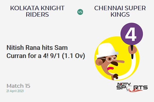 KKR vs CSK: Match 15: Nitish Rana hits Sam Curran for a 4! KKR 9/1 (1.1 Ov). Target: 221; RRR: 11.26