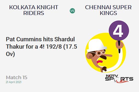 KKR vs CSK: Match 15: Pat Cummins hits Shardul Thakur for a 4! KKR 192/8 (17.5 Ov). Target: 221; RRR: 13.38