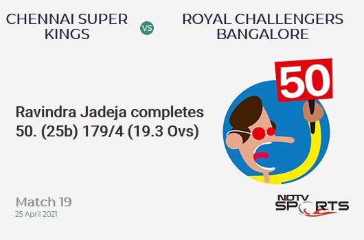 CSK vs RCB: Match 19: FIFTY! Ravindra Jadeja completes 50 (25b, 3x4, 4x6). CSK 179/4 (19.3 Ovs). CRR: 9.18