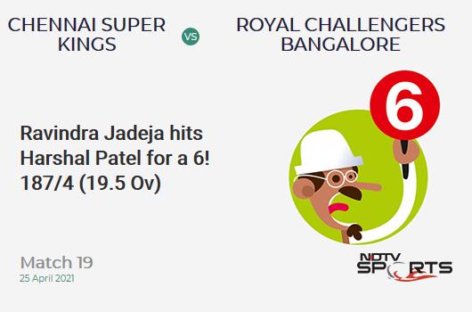 CSK vs RCB: Match 19: It's a SIX! Ravindra Jadeja hits Harshal Patel. CSK 187/4 (19.5 Ov). CRR: 9.43